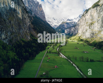 Aerial photograph of the Lauterbrunnen valley in Switzerland - Stock Photo
