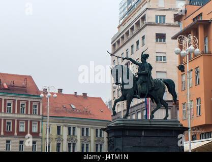 Ban Josip Jelacic monuemt in the central square in Zagreb, Croatia - Stock Photo
