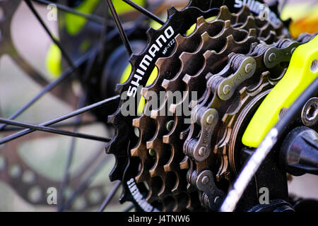 Tambov, Russian Federation - May 07, 2017 Shimano gear cassette on bicycle. - Stock Photo