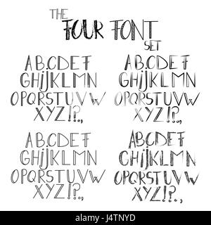 The Four Font - Vector abstract retro cartoon style alphabet. - Stock Photo