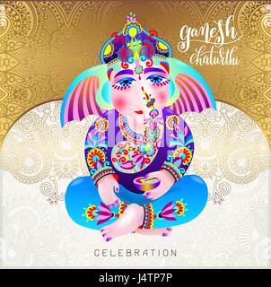 ganesh chaturthi beautiful greeting card or poster - Stock Photo