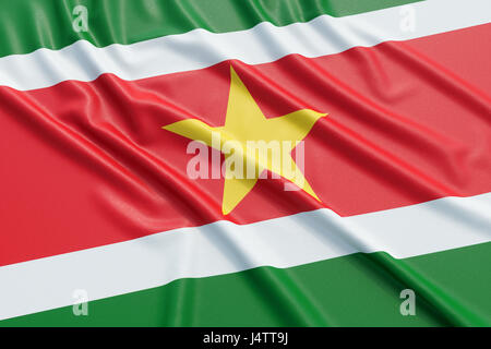Suriname flag. Wavy fabric high detailed texture. 3d illustration rendering - Stock Photo