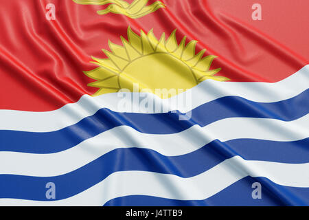 Kiribati flag. Wavy fabric high detailed texture. 3d illustration rendering - Stock Photo