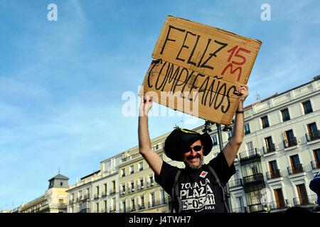 Madrid, Spain. 14th May, 2017. Madrid, Spain. 14th may, 2017. Protest that commemorates 15M sixth anniversary. It - Stock Photo
