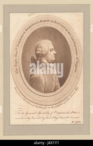 The Right Honble. Norborne Berkeley, Baron de Bottetourt, late Governor of Virginia (NYPL b12349153 423971) - Stock Photo