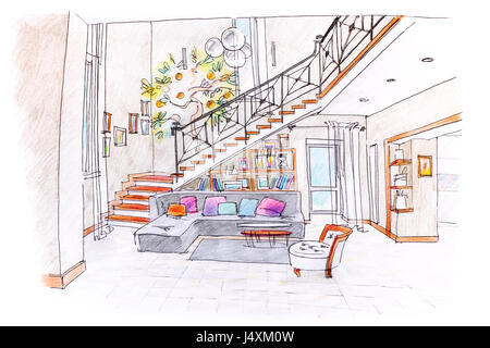 colored hand drawing of modern room design blueprint of living room with furniture - Interior Design Blueprint