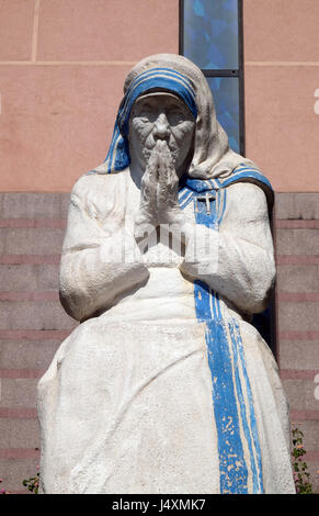 Mother Teresa statue in front of St Paul's Cathedral in Tirana, Albania on September 27, 2016. - Stock Photo
