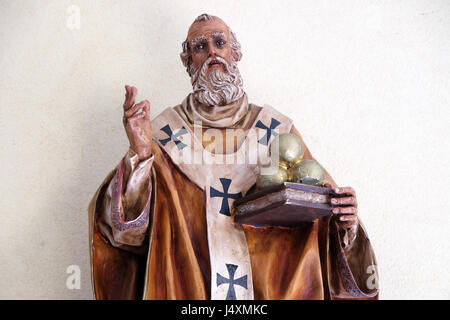 Saint Nicholas statue in St Paul's Cathedral in Tirana, Albania on September 27, 2016. - Stock Photo