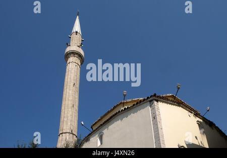 The Et'hem Bey Mosque on Skanderbeg Square, Tirana, Albania on September 27, 2016. - Stock Photo
