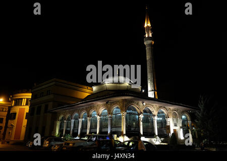 The Et'hem Bey Mosque at night on Skanderbeg Square, Tirana, Albania on September 27, 2016. - Stock Photo
