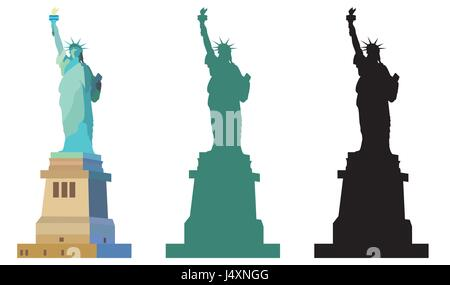 Isolated Statue of Liberty in New York Colorful, an green and black silhouettes on white background - Stock Photo
