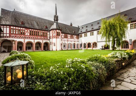 view of the monastery Eberbach cloister Eltville am Rhein Rheingau Hessen Germany - Stock Photo