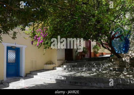 Plaka neighborhood of Athens - Small house. The neighborhood of Anafiotika, built by settlers from the Aegean island - Stock Photo