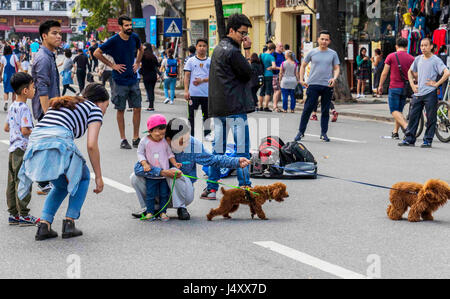 Street life in Hanoi in the Northern Vietnam - Stock Photo