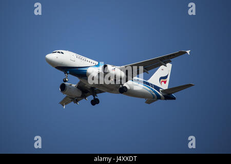 CHIANG MAI, THAILAND -APRIL 29 2017: HS-PPN A319-100 of Bangkok airway. Landing to Chiangmai airport from Samui. - Stock Photo