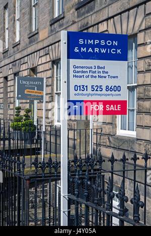 Estate Agent signs in Edinburgh' Georgian New Town. - Stock Photo