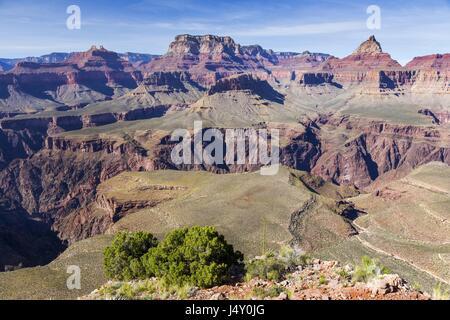 Panoramic View of Vishnu Temple and North Rim of Grand Canyon Arizona from end of Horseshoe Mesa Hiking Trail - Stock Photo