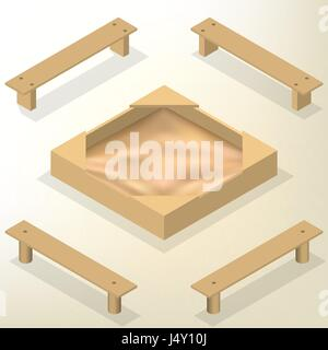 Sandbox with a set of wooden benches isolated on white background. Elements of the design of playgrounds and parks. - Stock Photo