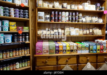 Cornwall, England, UK - April 7th 2017: Selection of organic goods and produce in a Cornish farm shop in Cornwall - Stock Photo