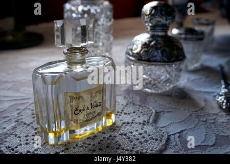 Cornwall, England, UK - April 5th 2017: Bottle of old vintage Engkish Violets perfume by Floris of London - Stock Photo