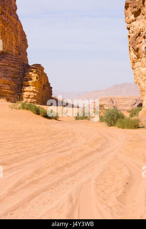 Four wheel tracks through orange, rose colored sand of the Wadi Rum Desert in Jordan. Blue sky is above and sparse - Stock Photo