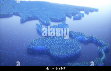 3D illustration. Conceptual image, map of the Asia and Oceania. - Stock Photo