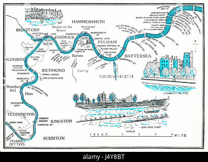 Rowing Map of the Thames, 1955 illustrated plan of the River Thames as it winds through London, from Hampton Court - Stock Photo