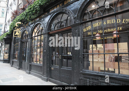 Berry Brothers and Rudd Wine Merchants in St James's Street, London - Stock Photo