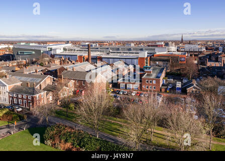 Warrington town centre looking east from the town hall showing the Golden Square development. - Stock Photo
