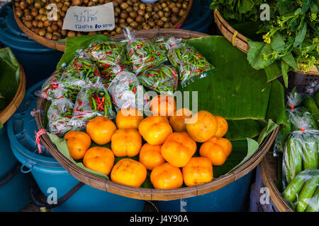 Fruits at the Chian Mai fruits market. Thailand - Stock Photo
