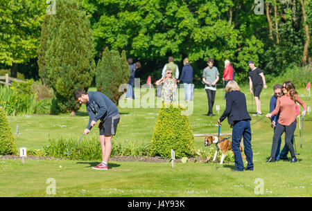 Families putting on a mini golf or putting course at Mill Road Leisure & Cafe in Arundel, West Sussex, England, - Stock Photo