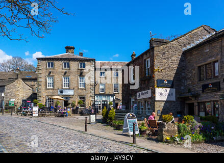 Cafe on The Square in the  traditional English village of Grassington, Wharfedale, Yorkshire Dales National Park, - Stock Photo