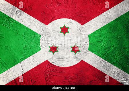 Grunge Burundi flag. Burundi flag with grunge texture. - Stock Photo