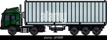 drawing truck container shipping cargo - Stock Photo