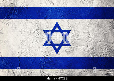 Grunge Israel flag. Israel flag with grunge texture. - Stock Photo