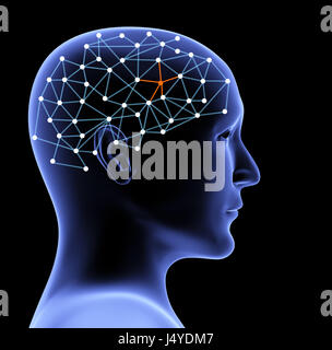 Transparent head of person and neural network of brain with a problematic area. Isolated on black background. 3d - Stock Photo