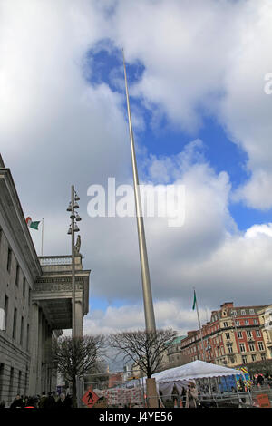 Spire of Dublin, also the Monument of Light, O'Connell Street, Dublin, Ireland, 120 metres high, Ian Ritchie Architects, - Stock Photo