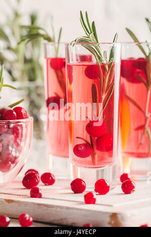 Refreshing drink with cranberries - Stock Photo