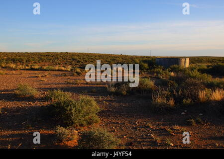 A small farm dam in the sparse vegetation of the Great Karoo natural region in South Africa - Stock Photo
