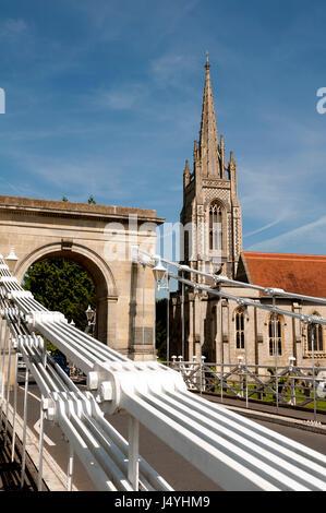 All Saints Church from the suspension bridge, Marlow, Buckinghamshire, England, UK - Stock Photo