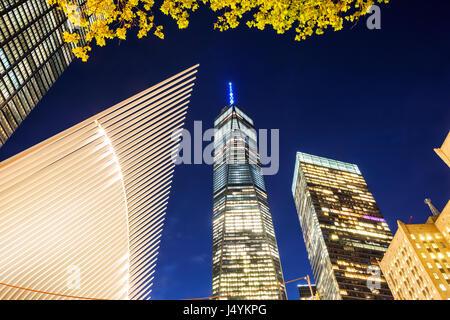 One World Trade Center at night - Stock Photo