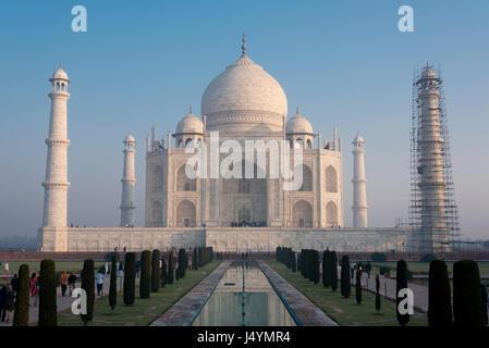 Taj Mahal under construction, Agra, India - Stock Photo