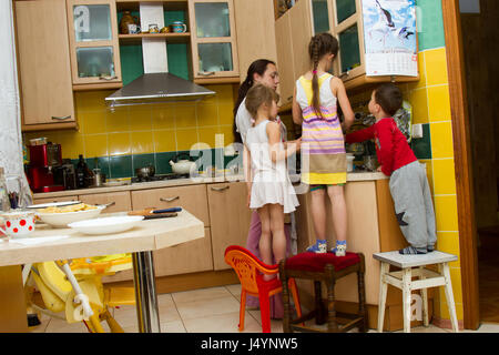 Children's room with toys. Toy doll doll house - Stock Photo