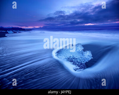 Diamond beach near the Glacier Lagoon south east Iceland - Stock Photo