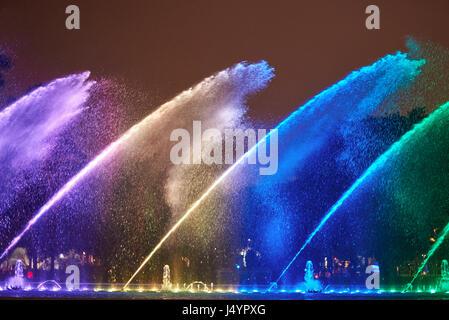 Night Colorful Fountain Show In Lima Park Vivid Color Fountain Water Stock Photo