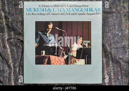 Long playing record cover of mukesh and lata mangeshkar, india, asia - Stock Photo