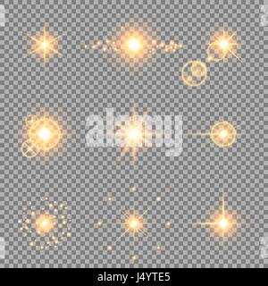 Light effects set. Vector illustration of abstract glowing golden lights, flashes, lens flares, stars and sparkles - Stock Photo