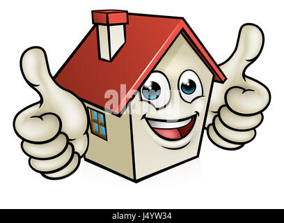 A house cartoon mascot character giving a double thumbs up - Stock Photo