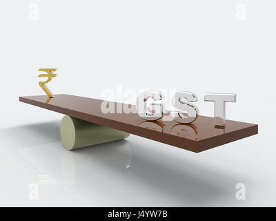 Gst tax and Indian rupees symbol, india, asia - Stock Photo