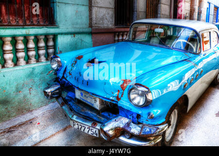 Old American car in Cuba, Cuban car, typical cuban car Cuban vehicle, automobile in Cuba, Car Cuba, Cuban Car, Havana - Stock Photo